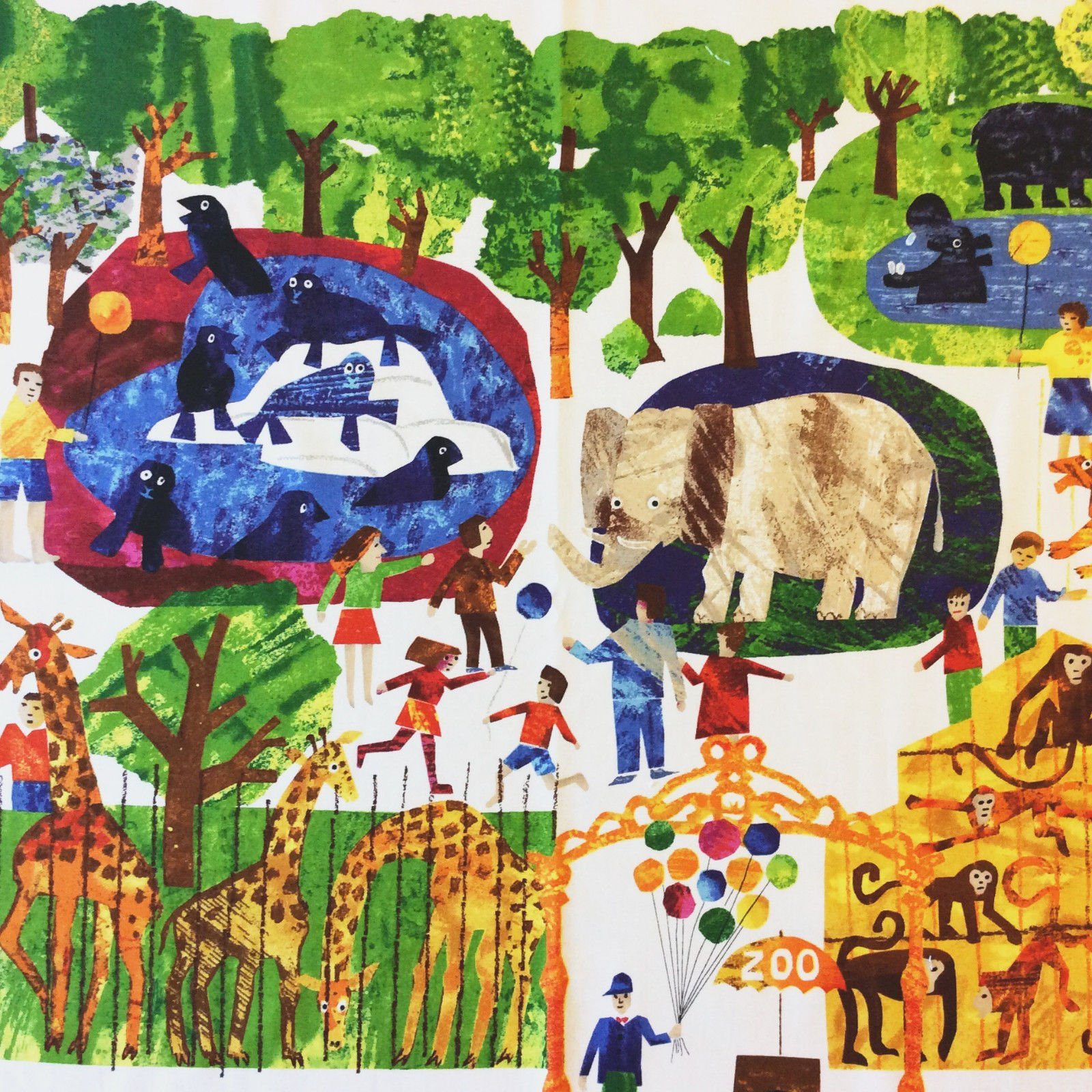 Eric Carle Zoo Animals Elephant Bear Kids Cotton Quilt Fabric Panel PNL147