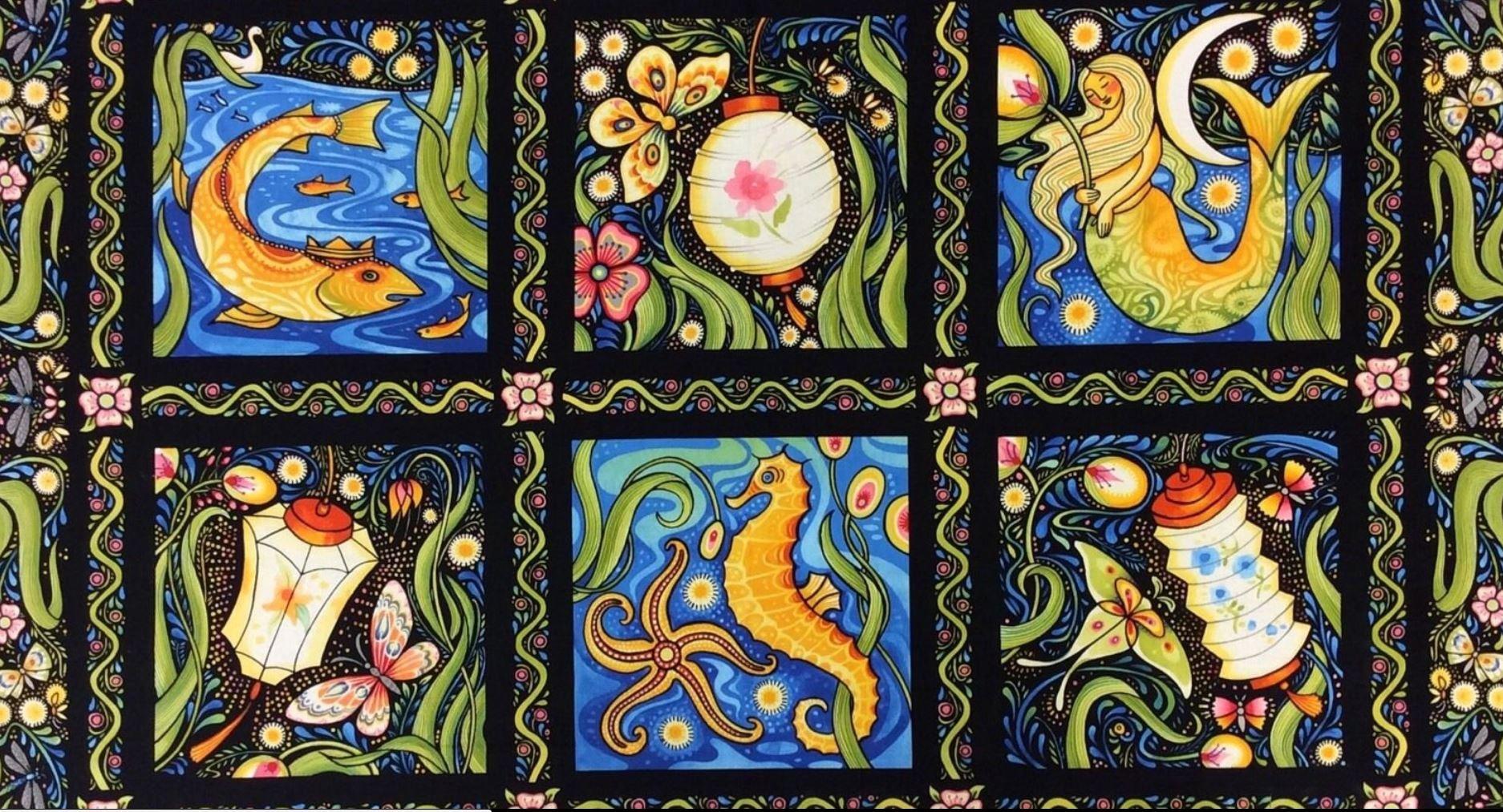 Luminaria Julie Paschkis: Summer Mermaid Cotton Fabric PNL30