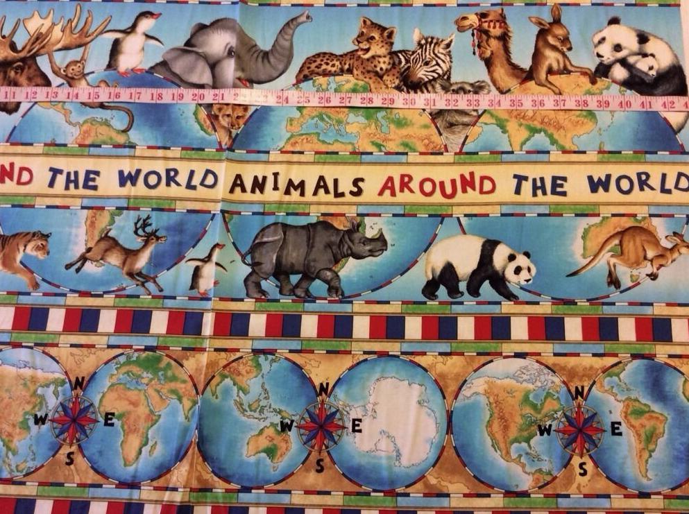 Animals Around the Globe Panda Kangaroo Camel Koala Moose Monkey Cotton Fabric Quilt Fabric FF52 PNL52