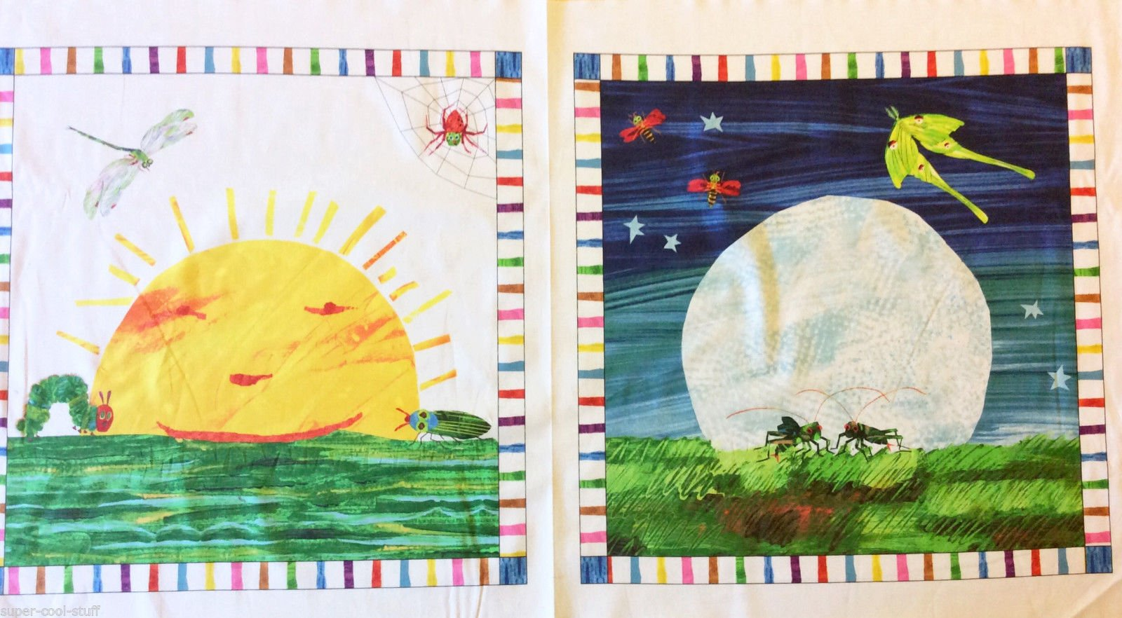 Eric Carle PNL57 Day and Night Bugs Children's Book Retro Quilt Fabric Cotton Fabric Hungry Caterpillar R191