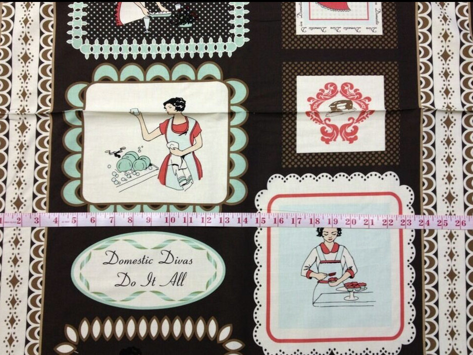 Housewife Retro Domestic Divas Panel Housewife Cooking Cleaning Cupcakes Emily Taylor Cotton Quilt Fabric PNL76 FF84 R312