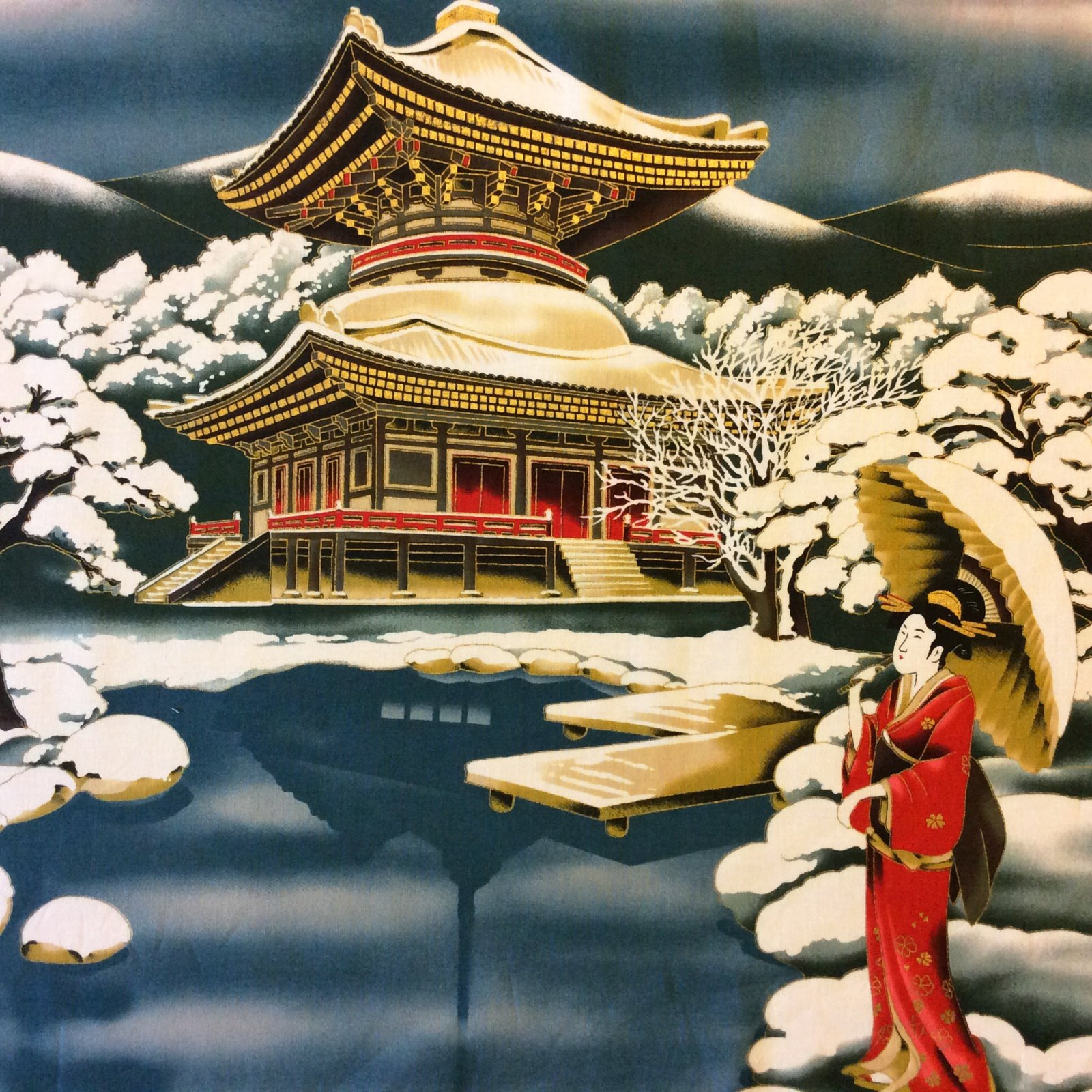 PNL80 Geisha Snow Winter Pagoda Japanese Japan Cotton Fabric Quilt Fabric Panel