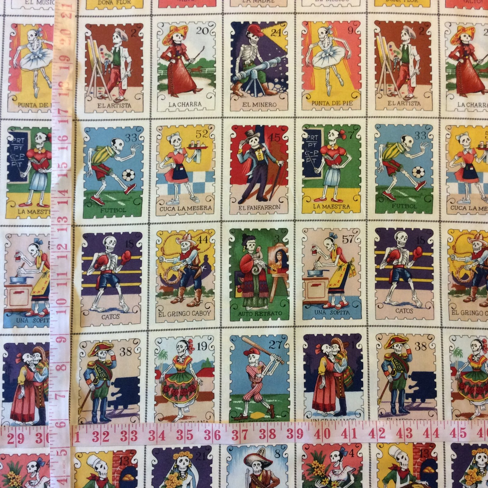 Cartas Marcadas BTY Alexander Henry PNL91 Tarot Cards Loteria Lottery Day of the Dead Mexico Cotton Fabric Quilt Fabric AH101