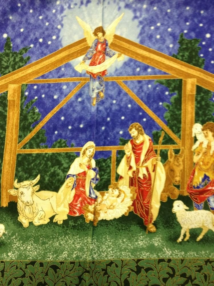 Nativity Jesus Mary and Joseph Manger scene Square panel print cotton fabric quilt fabric Christmas FF60 PNL95 P151