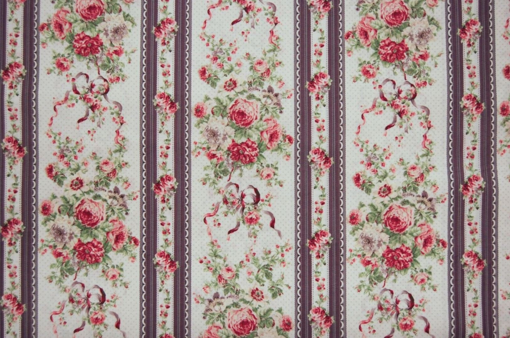 Floral Vintage Style French Rose Bouquet Japanese Asian Cotton Quilt Fabric QG02