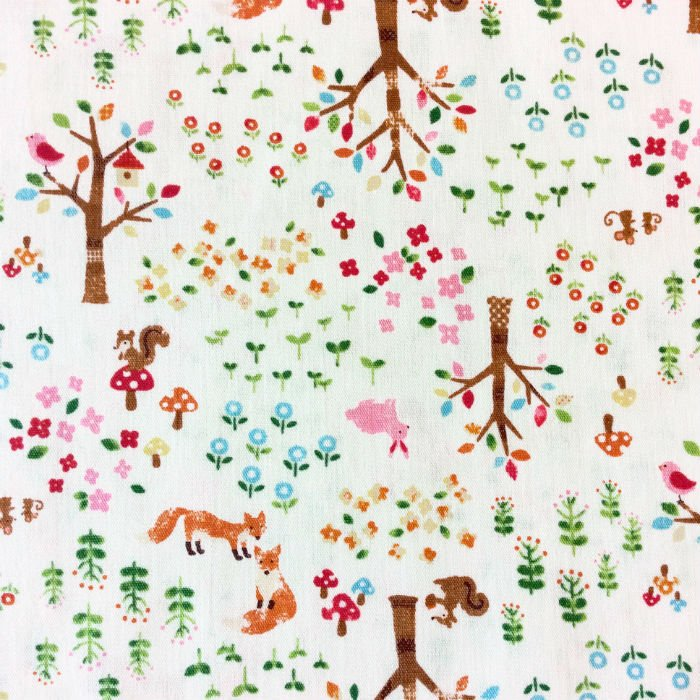 Fox Forest Trees Japanese Retro Asian  Bird Rabbit Bunny Foxy Flowers Cotton Quilt Fabric QH12