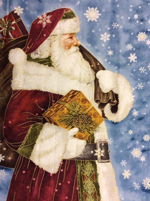 Santa Father Christmas Winter St Nicholas Panel Cotton Fabric Quilt Fabric QT22