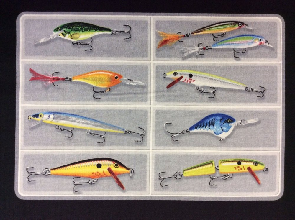 PNL46 Rapala Heddon Go Fish Fishing Lures Panel Cotton Fabric Quilt Fabric QT23