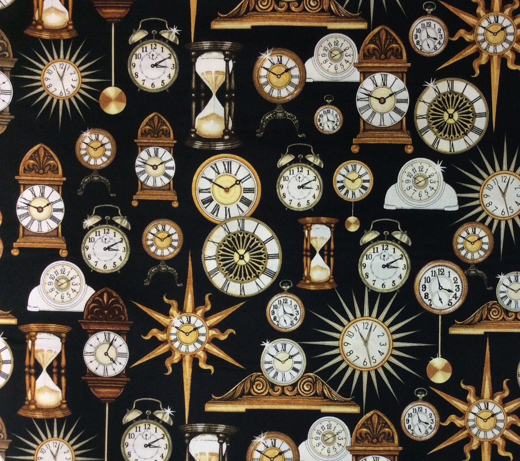 Clocks Time Sundial Grandfather Tick Hourglass Sand Quilting Cotton Fabric QT43