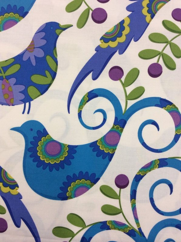 Floral Birds With Purple Cherries On White Cotton Fabric Quilt Fabric R279