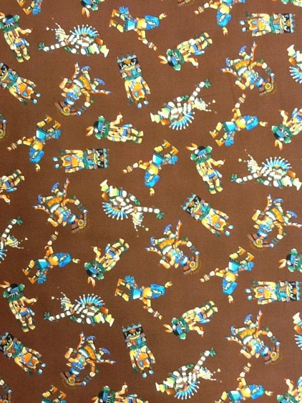 Native American Kachina Dancing Dolls Cotton Fabric Cotton Quilting Fabric R60
