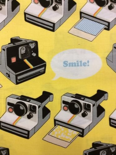 Cameras Photo Smile Instamatic Cute Polaroid Camera Photography 70's Cotton Quilt Fabric RB24
