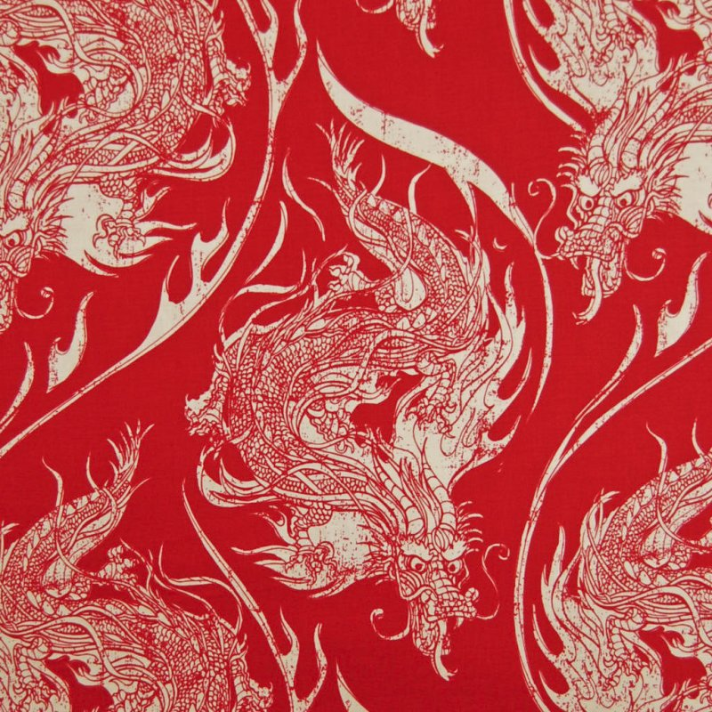 RB31 Red Dragon Asian Oriental Crafting By the Yard Cotton Fabric Quilt Fabric