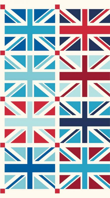 RB33 Mini Union Jack Panel British UK London Flag Cotton Fabric Quilt Fabric