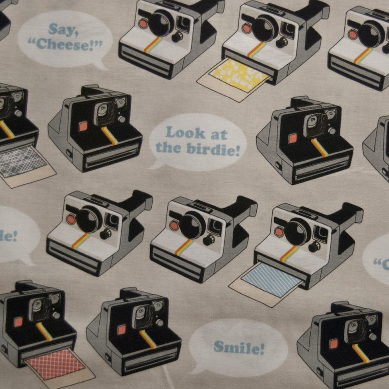 Cameras Say Cheese Polaroid Camera Photography Quilting Cotton Quilt Fabric RB37