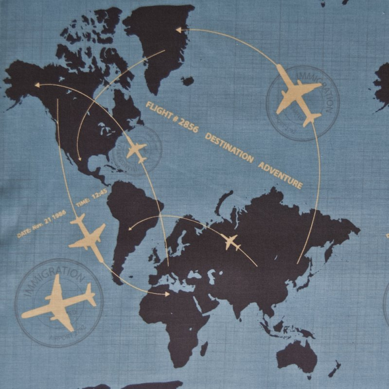 RB43 Airplane Air Travel Continents World Map Globe Quilting Cotton Quilt Fabric