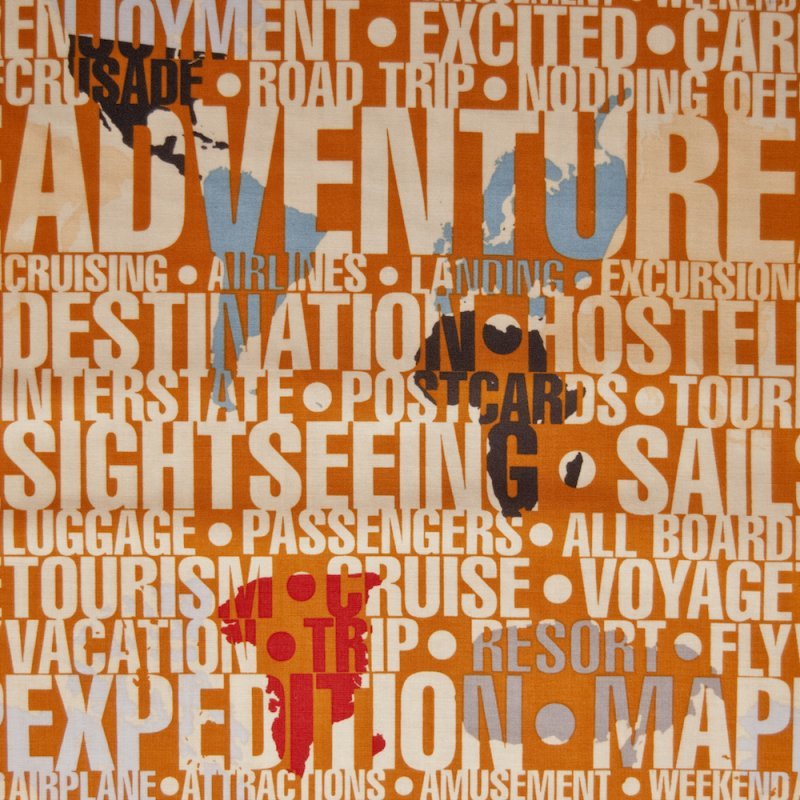 RB47 Adventure Script Text Travel Resort Continents Quilting Cotton Quilt Fabric