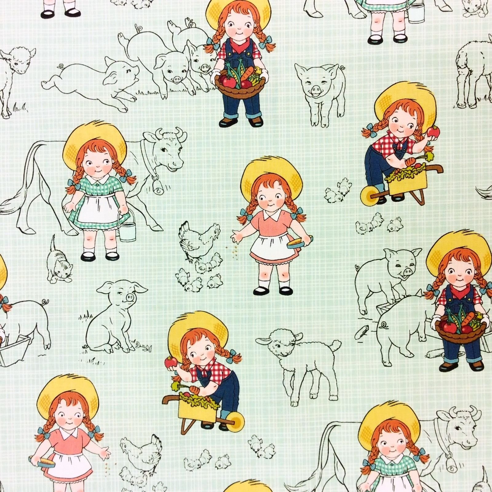 RB68 Cow Girl Farmer Farm Animals Pig Lamb Chicken Country Cotton Quilt Fabric