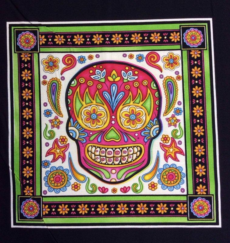Dan Morris Fabric Fiesta Day Of The Dead Colorful Skulls on Black Panel Cotton Fabric Quilt Fabric RJ13