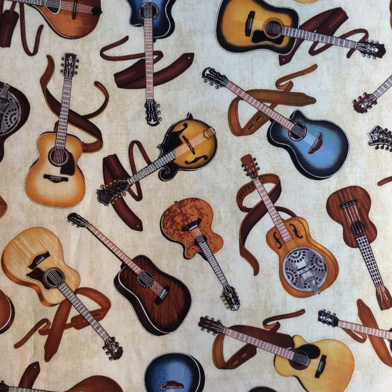 Guitar Music Electric and Acoustic Guitars Music Band Quilt Cotton ... : music quilt fabric - Adamdwight.com