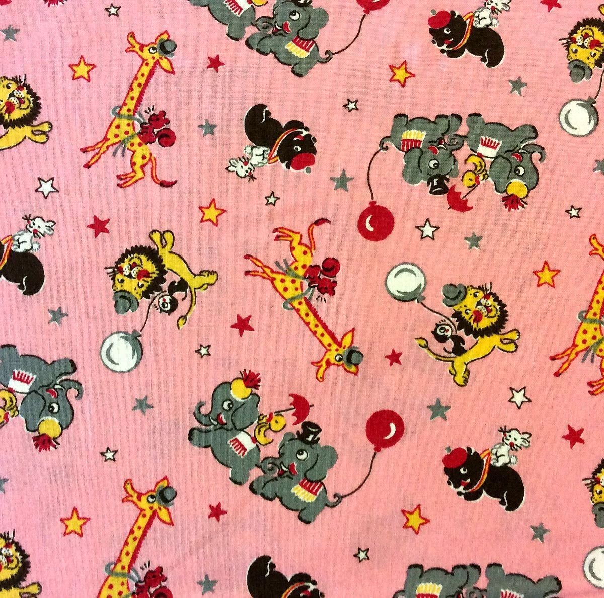 RJ19 Circus Animals Child Cartoon Party Balloons Cute Cotton Quilt Fabric