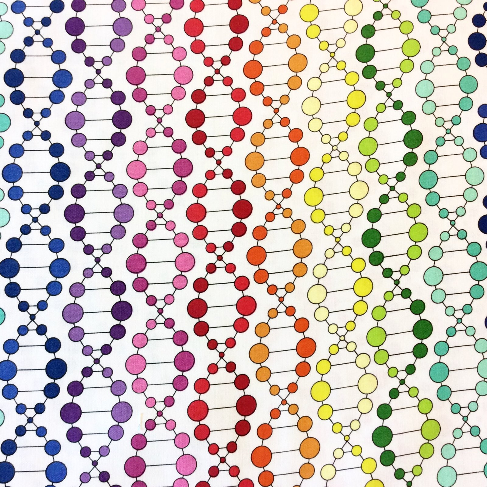 RJ24 DNA Double Helix Science Biology Chemistry Molecule Geekery Sue March Cotton Quilting Fabric