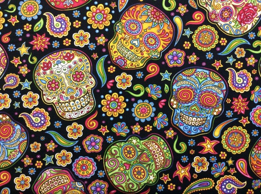 Colorful Sugar Skulls Day Of The Dead Fun Bright Cotton Fabric Quilt Fabric RJ09