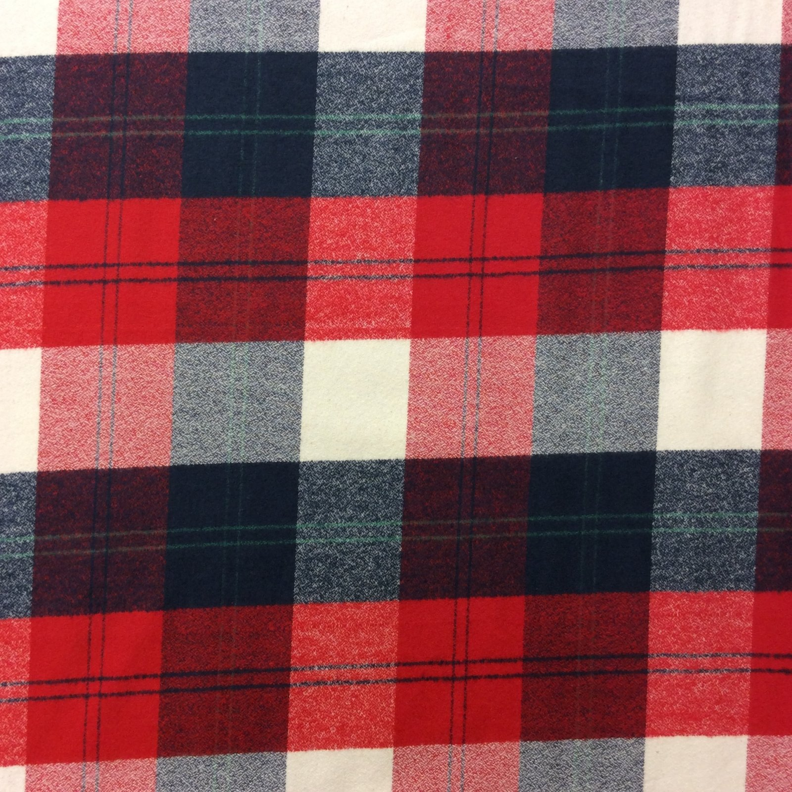 Red White and Blue Plaid Buffalo Check Lumberjack Cotton Fabric Flannel RK100