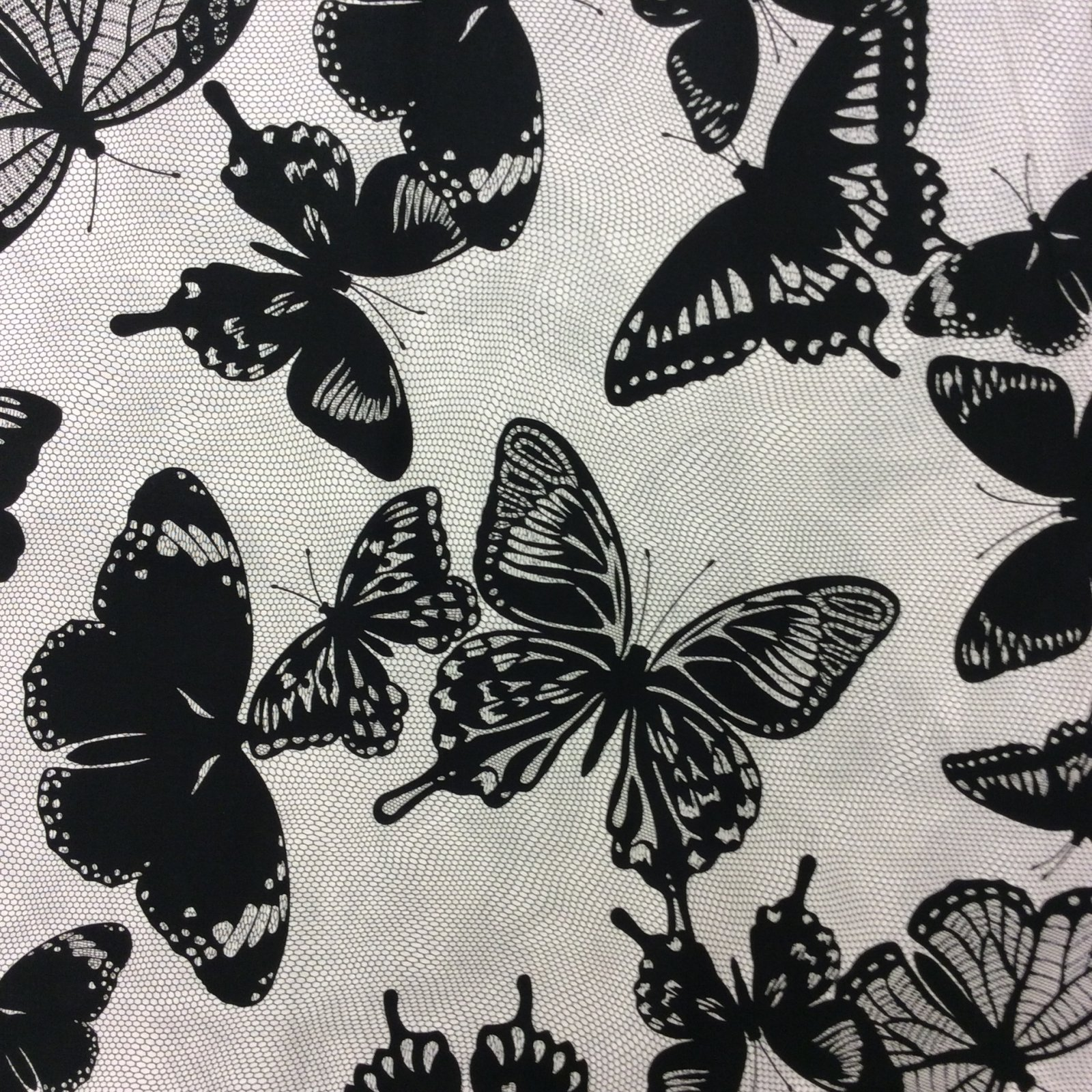 RK102 Black and White Butterflies Goth Fly Quilt Cotton Quilting Fabric