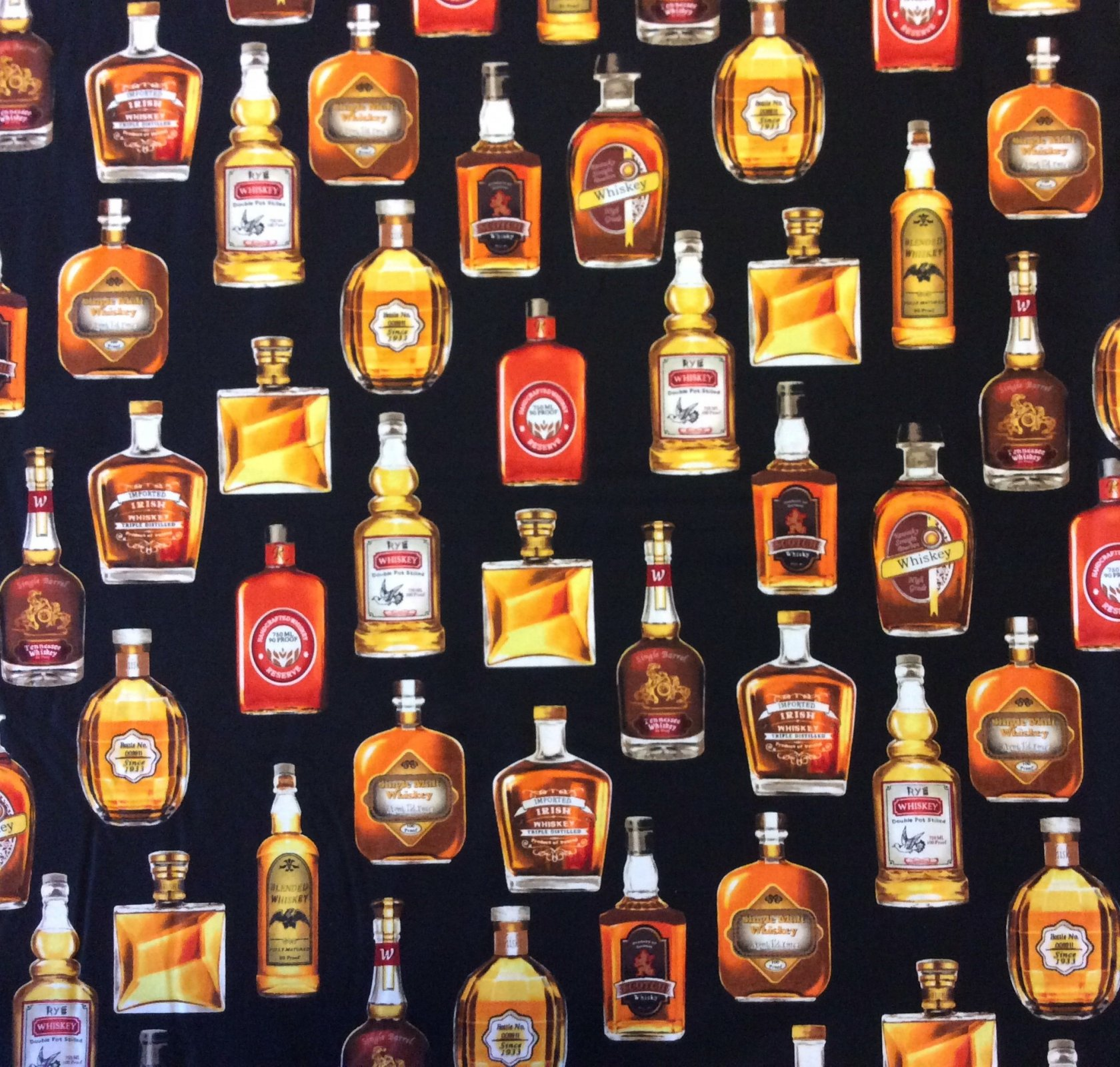 RK116 Whiskey Bourbon Alcohol Fancy Party Scotch Brandy Quilting Cotton Fabric