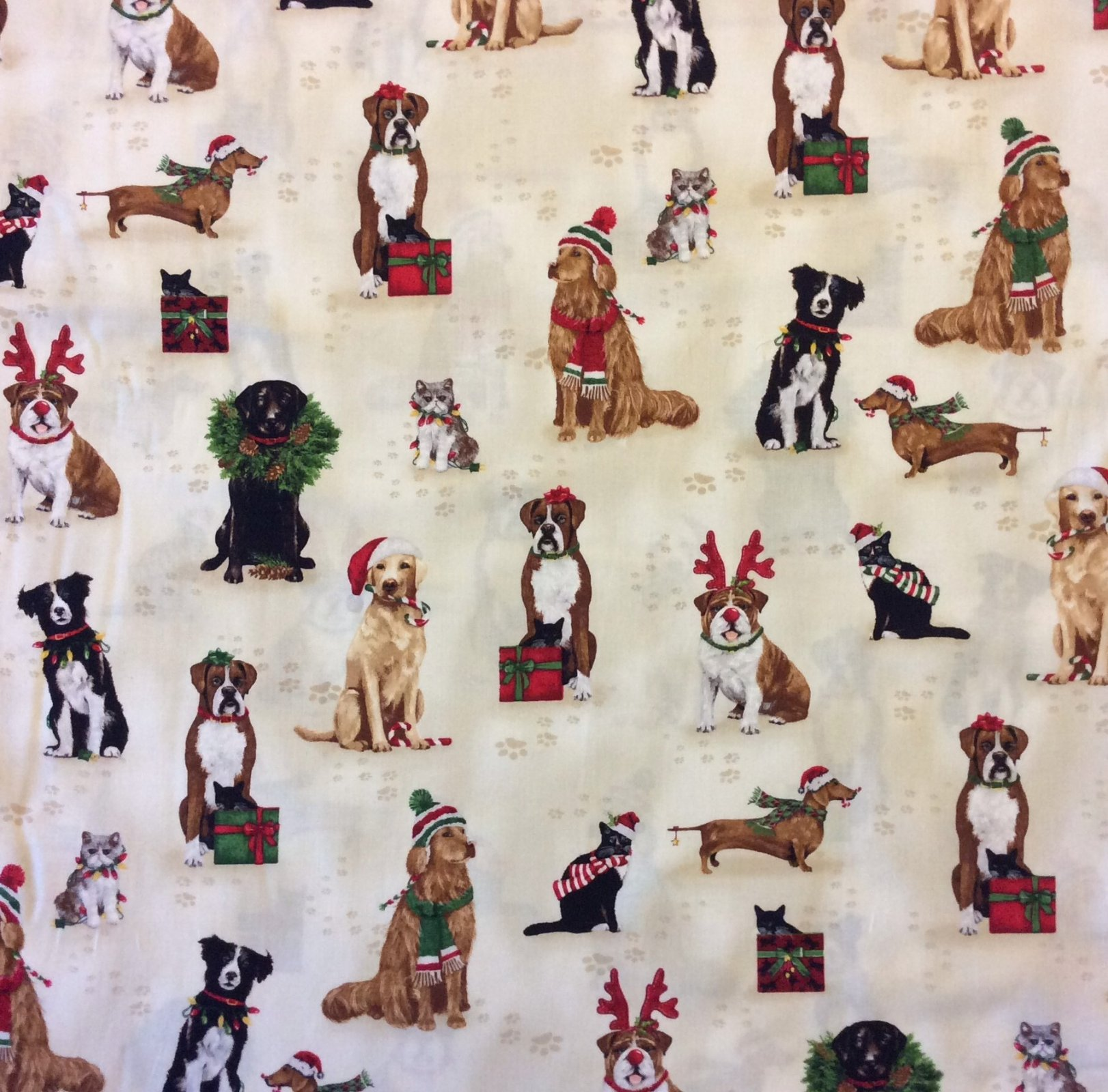 RK119 Christmas Dogs Puppies Cute Holiday Winter Reindeer Quilting Cotton Fabric