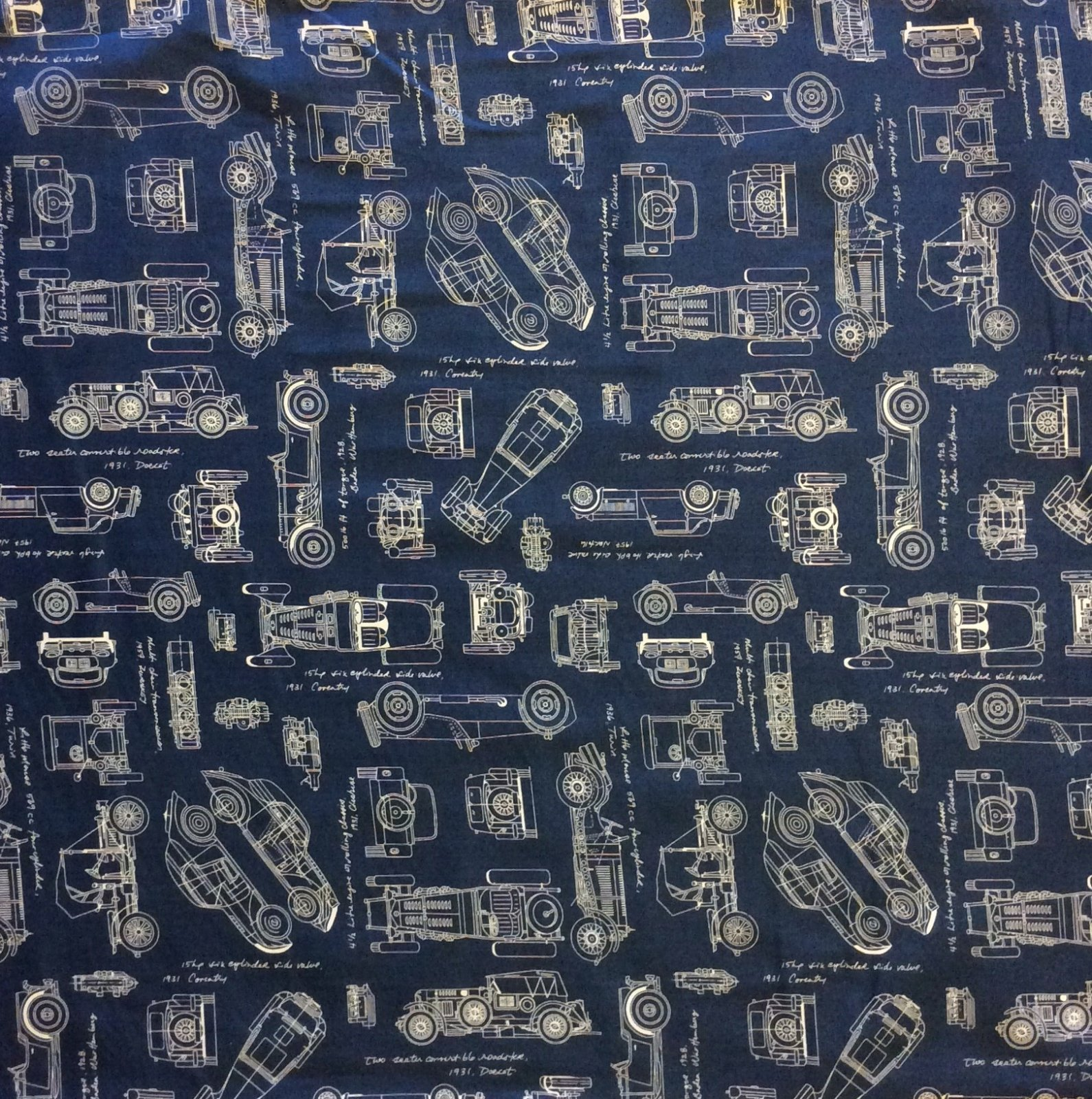 Blueprint Car Vehicle Architect Drafting Engineer Quilting Cotton Fabric RK122