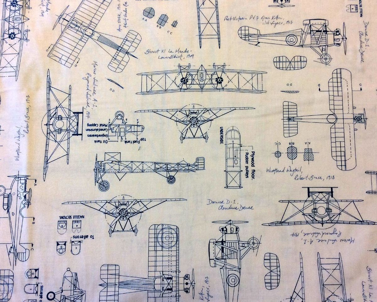 RK123 Blueprint Airplane Architect Drafting Engineer Quilting Cotton Fabric
