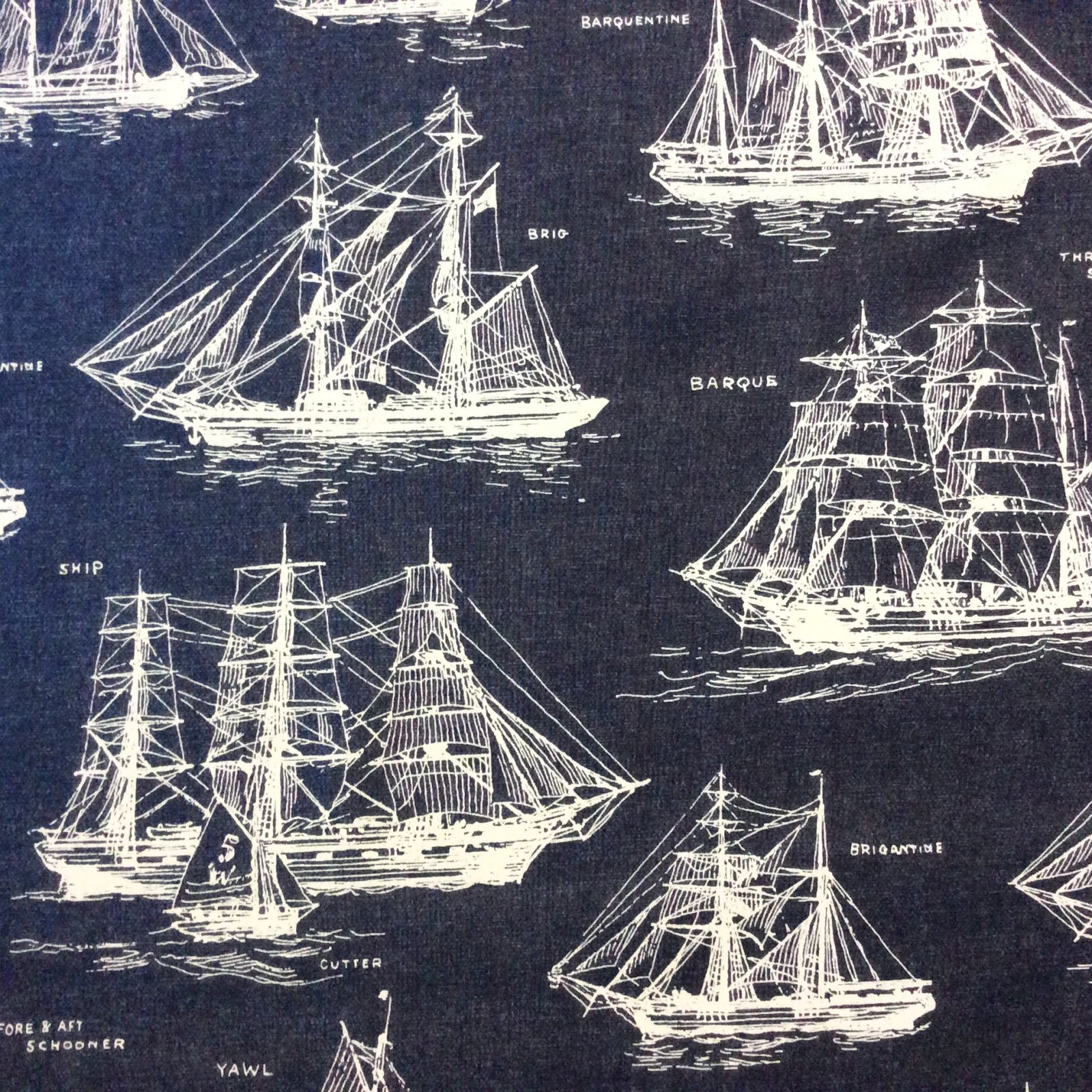 Sailboat Sea Ocean Nautical Ship Boats Blueprint Cotton Quilting Fabric RK149
