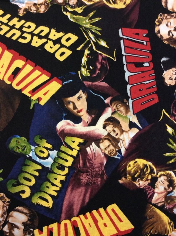 Cult Horror Dracula Movies Posters Lugosi Lee + Cotton Fabric Quilt Fabric RK40