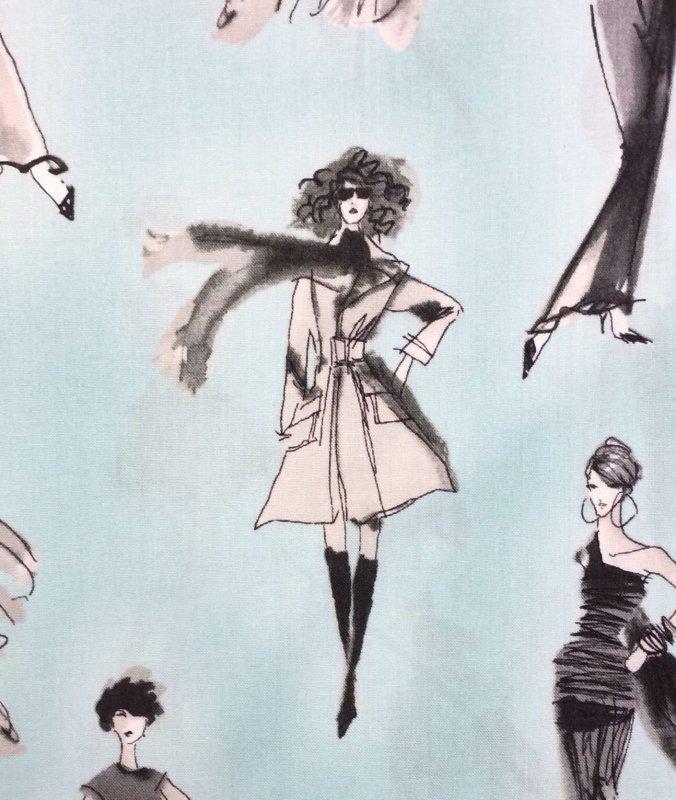 Vintage Fashion Elegant Dresses + Models Cotton Fabric Quilt Fabric RK52