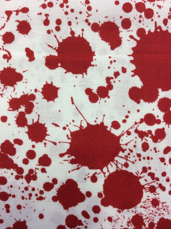Alfred Hitchcock Psycho Red Blood Spatters White Cotton Fabric Quilt Fabric RK56