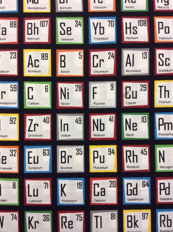 MATH Chemistry Science Geek Collection Periodic Table Elements Science Cotton Fabric Quilt Fabric RK61