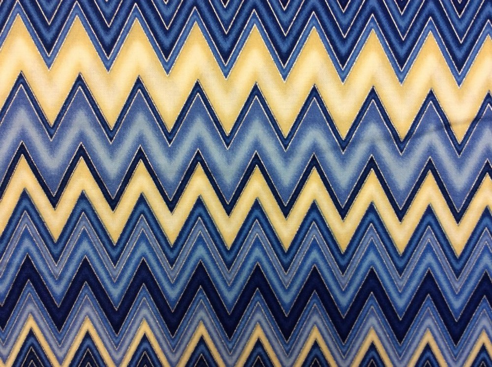 Indigo Blue Yellow Silver Chevron Zigzag Stripes Cotton Fabric Quilt Fabric RK66