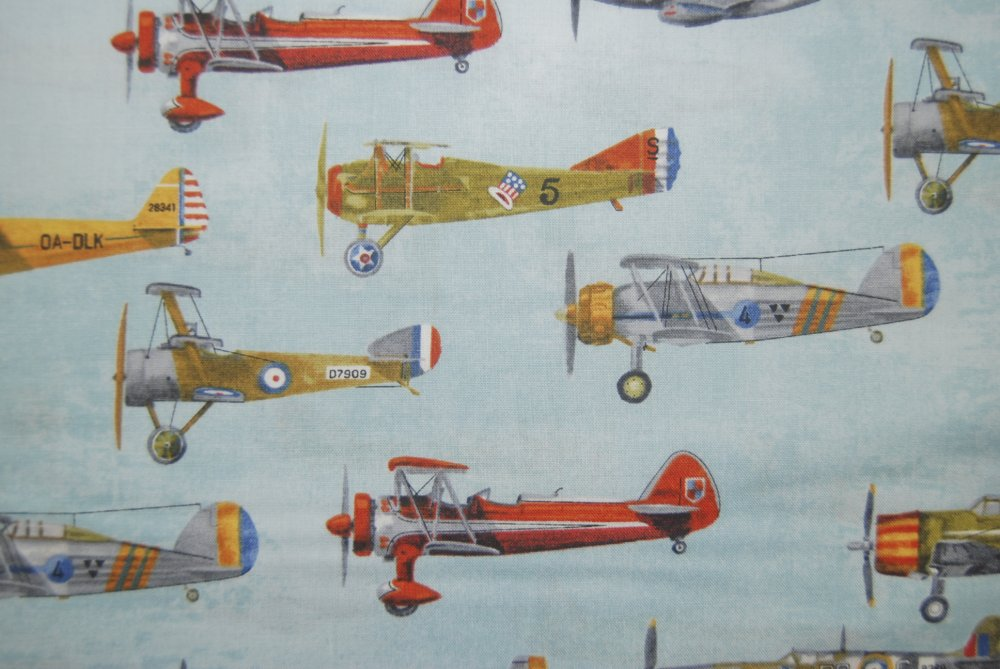 RK72 Vintage Antique Airplanes Sky Blue Flight Aviation Quilt Fabric 100% Cotton