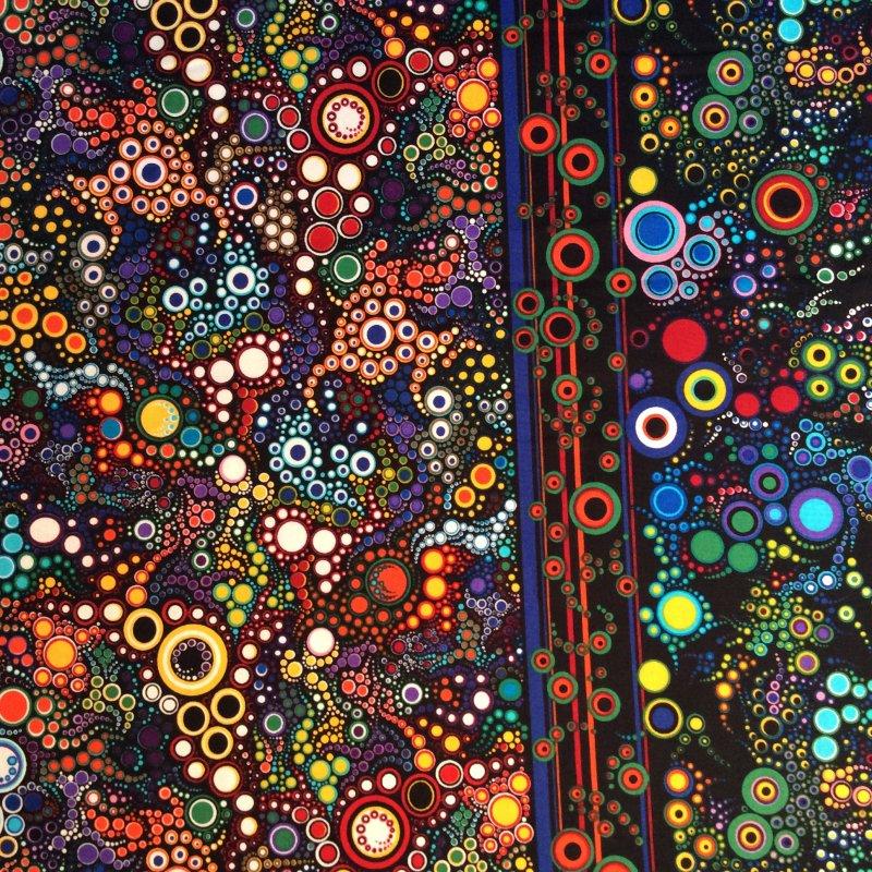 Fat Quarter! Bubbles Polka Dots Border Print Contemporary Quilt Cotton Quilting Fabric FQRK94