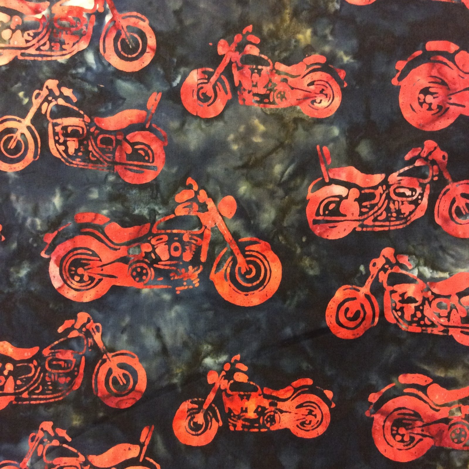 RK99 Motorcycle Batik Biker Helmet Watercolor Quilt Cotton Quilting Fabric