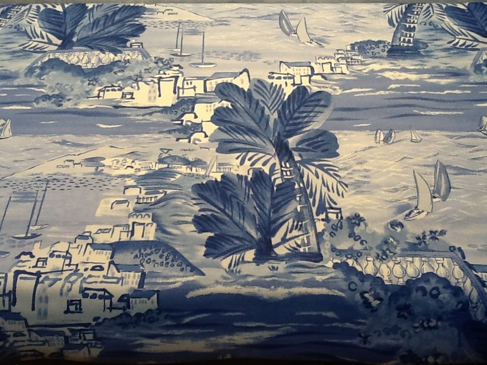 Ralph Lauren Toile Sailboats Ocean Indigo Blue heavy weight upholstery fabric   RL204