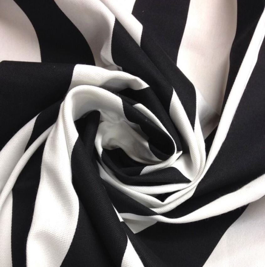Classic Awning Stripe Midnight Black White Cabana Stripe Black White Awning Sun Safe Outdoor Fabric S05