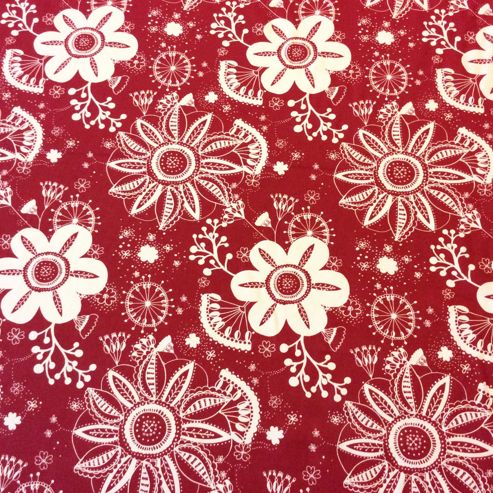 Floral Scarlet Red & White Garden Geo Floral Patio Awning Home Dec Indoor Outdoor Fabric s413