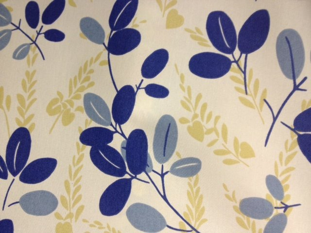 Floral Scandinavian Modern Leaf Print Indigo Blue on Cream Famous Maker Outdoor Fabric SALE!  CLOSEOUT  S570