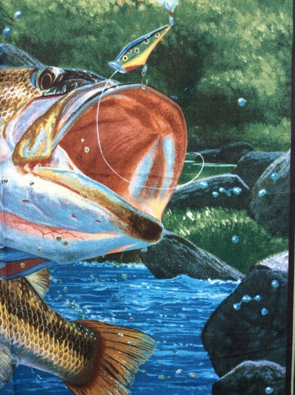 PNL118 Fishing Jumping From Water Bass Panel Cotton Fabric Quilt Fabric FF145