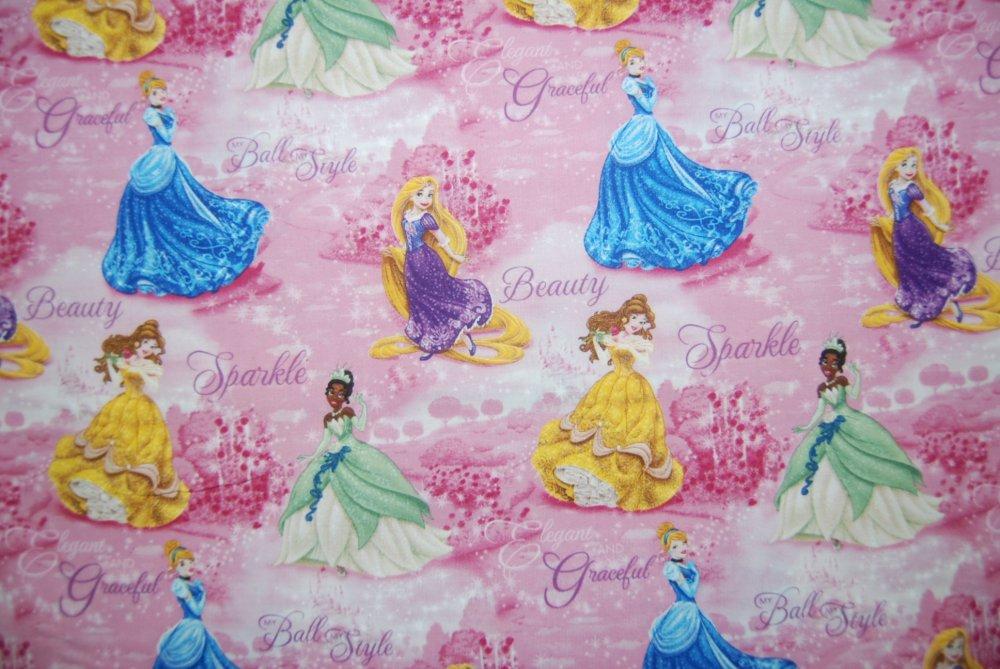 Disney Princess Tiana Cinderella Belle Rapunzel Quilting Cotton Fabric SC06