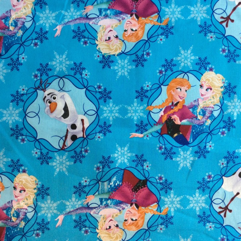 FAT QUARTER! Disney Frozen Anna and Elsa Ice Skating Olaf Winter Quilting Cotton Quilt Fabric RPFDS12