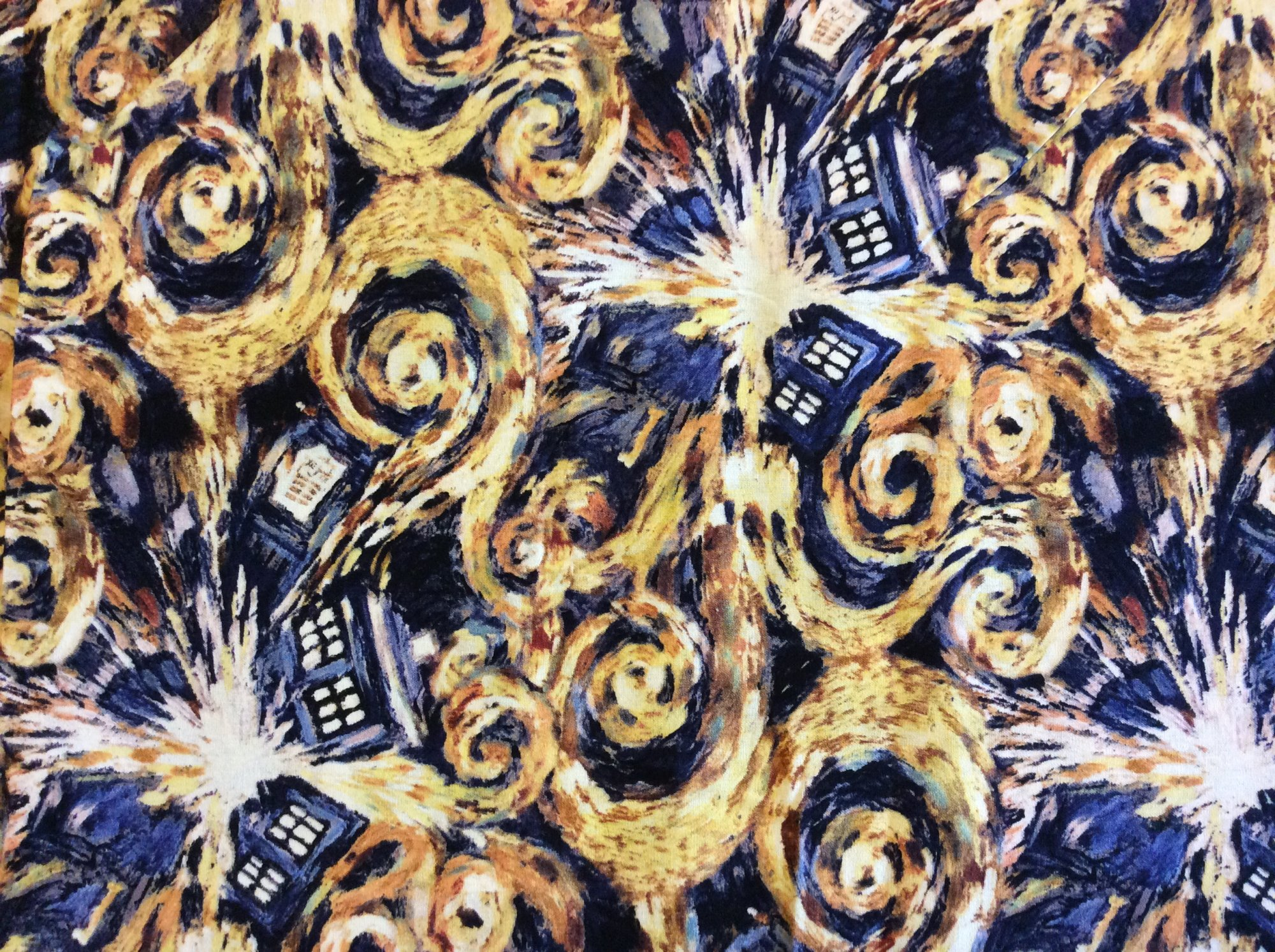 Sc15 dr who vincent van gogh tardis amy rory time space for Space themed fleece fabric
